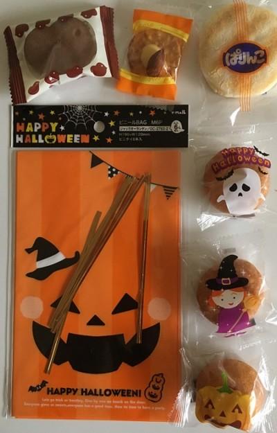 100均ハロウィンラッピング袋とお菓子