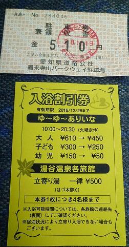 鳳来寺パークウエイ駐車券と貰える割引券