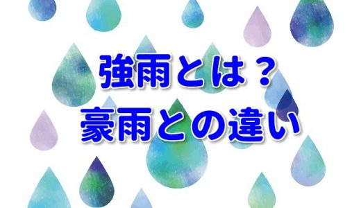強雨とはどれくらいの雨なの?定義や豪雨&大雨との違いは?